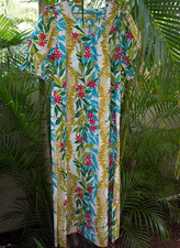 Long Muumuu<br>White with Red flower,