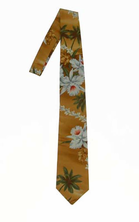 Hawaii Print Necktie<br> Brown Flower