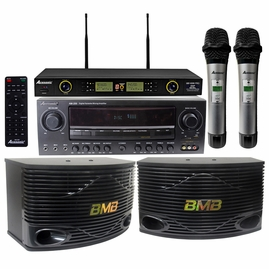 "Acesonic AM-200 960W Amplifier & BMB CSN-300 8"" Speaker Package with Wireless Mics"