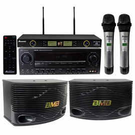"Acesonic AM-200 960 W Amplifier & BMB CSN-500 10"" Speakers with Wireless Mics"