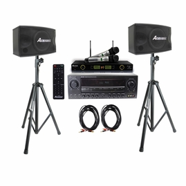 Acesonic AM-200 Karaoke Amplifier, Acesonic SP-450 Speaker , UHF 5200 PRO Microphone System with Speaker Cable and Speaker Stands