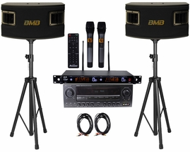 Acesonic AM-200 Karaoke Amplifier, BMB CSV-450 500W SPEAKER , ATNY AT-90 Microphone System with Speaker Cable and Speaker Stands