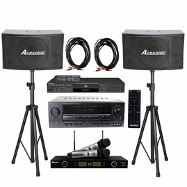 Acesonic DGX-220 HDMI Karaoke Player, AM-200 Karaoke 960W Amp With SP-450 300W Speaker and UHF-5200 PRO Dual Mic ,  Speaker Cable/ Stand