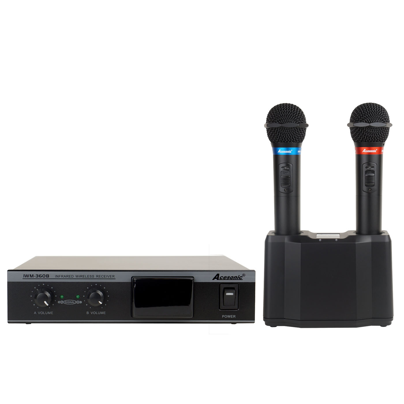acesonic iwm 360b dual infrared wireless microphone system. Black Bedroom Furniture Sets. Home Design Ideas