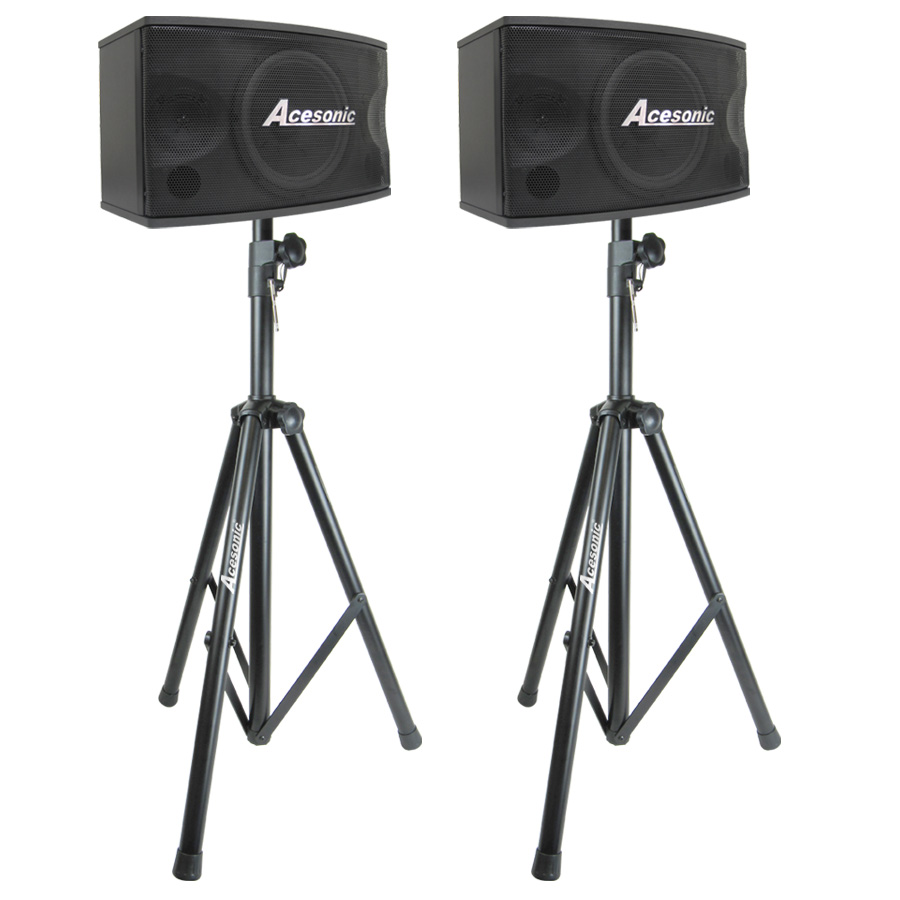 speakers and stands. acesonic sp-450 300w professional vocal speakers \u0026 stands (pair) and