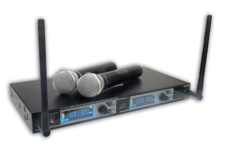 acesonic uhf 1208x uhf diversity 1000 channel dual wireless microphone system. Black Bedroom Furniture Sets. Home Design Ideas