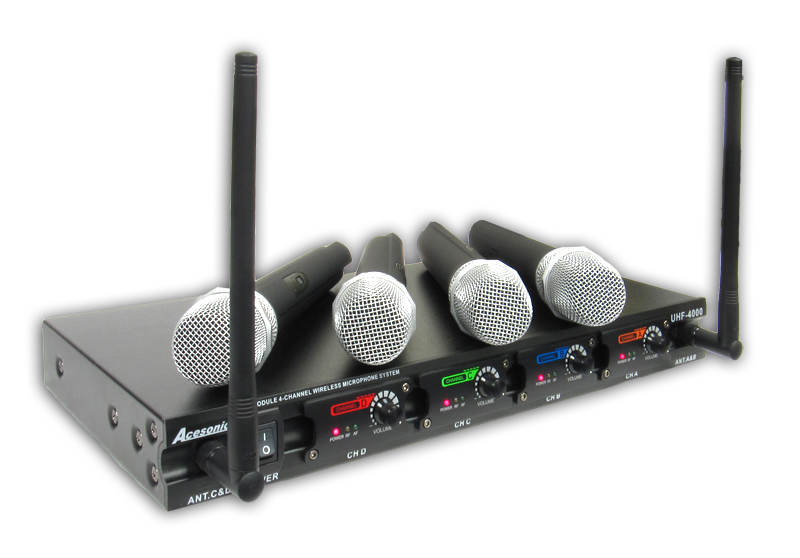 acesonic uhf 4000 professional 4 channel module wireless microphone system open box. Black Bedroom Furniture Sets. Home Design Ideas