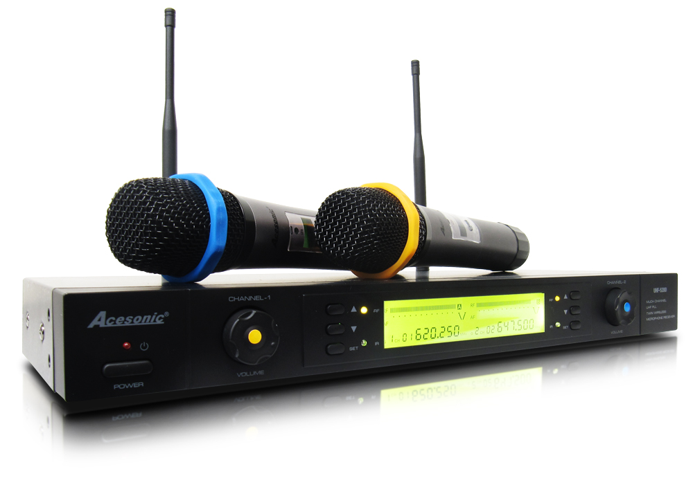 acesonic uhf 5200 dual channel wireless microphone system open box. Black Bedroom Furniture Sets. Home Design Ideas