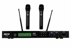 ATNY AT-60HT UHF Dual Wireless Microphone System with LCD power indicator