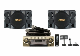 BMB DAR-800II Amplifier & CSE-312 Speaker Package, 4-Channel, 600-Watts, Dual Shure BLX288/PG58 Wireless Mics