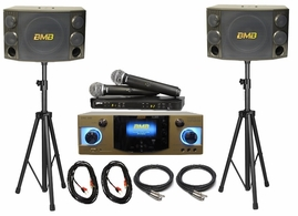 BMB DAS-300 Amplifier and BMB CSD-2000 Speaker with Shure BLX288/PG58 Wireless Mic (Cable and Speaker Stand)