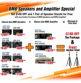 BMB Karaoke Amplifiers and BMB Speakers package - Instant rebate 100 off  & Free Speaker Stand