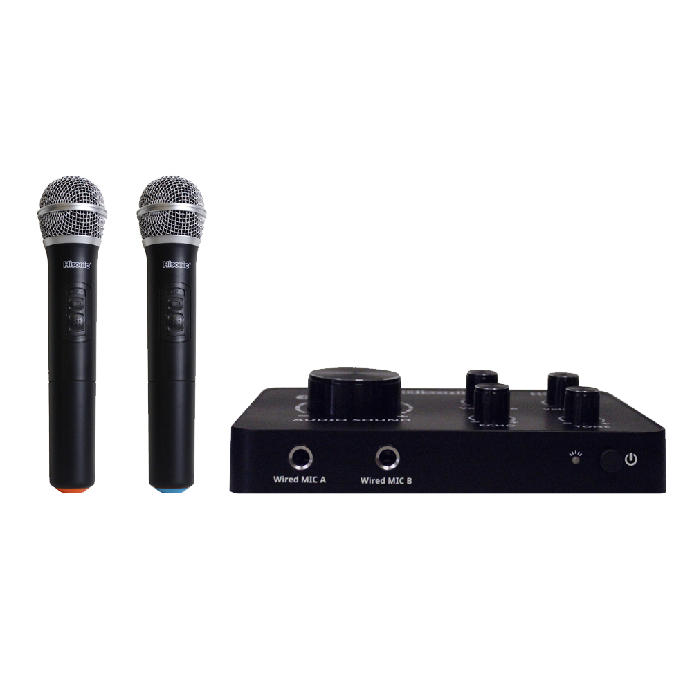 hisonic hs223 2 in 1 hdmi karaoke mixer dual uhf cordless microphone system with bluetooth input. Black Bedroom Furniture Sets. Home Design Ideas