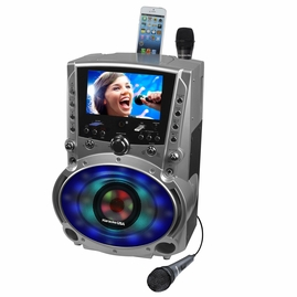 """Karaoke USA GF758 Bluetooth/CDG/MP3G Karaoke System with 7"""" TFT Color Screen, Record, DVD and LED Sync Lights"""