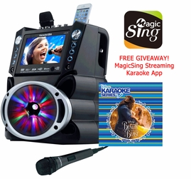Karaoke USA GF842 DVD/CDG/MP3G Karaoke System with Bluetooth, Color Screen, Record, & LED Lights