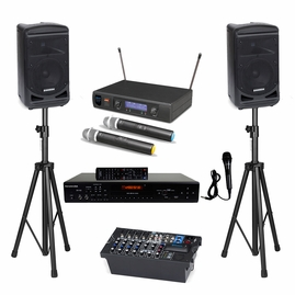 Samson Expedition XP800 Portable PA System with Bluetooth, Karaoke USA DV102 Karaoke Player, ATNY AT-30 HT UHF Dual Wireless Mic and Speaker Stand