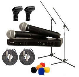 Shure BLX288/PG58 Dual Wireless System Package With Boom Stands, XLR3M to XLR3F Cables, Windscreens