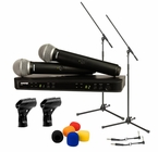 Shure BLX288/PG58 Wireless Microphone Package with Boom Stand & Accessories