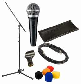 Shure PGA48, Stands, Mic Cables, Mic Clip, Mic Pouch, and Windscreens Package