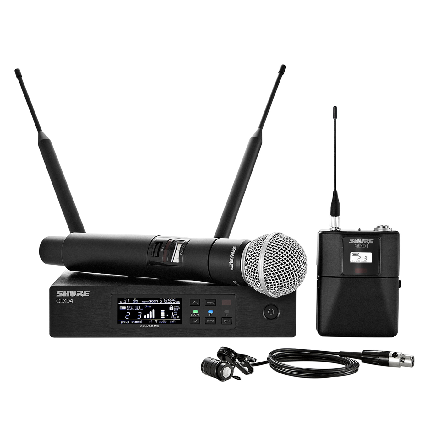 shure qlxd124 85 handheld lavalier wireless microphone system. Black Bedroom Furniture Sets. Home Design Ideas