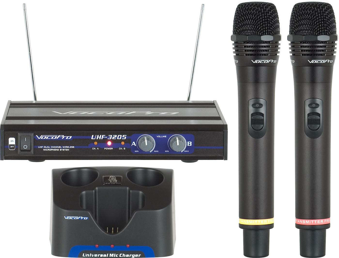 vocopro uhf 3205 rechargeable dual uhf wireless microphone system 900mhz. Black Bedroom Furniture Sets. Home Design Ideas