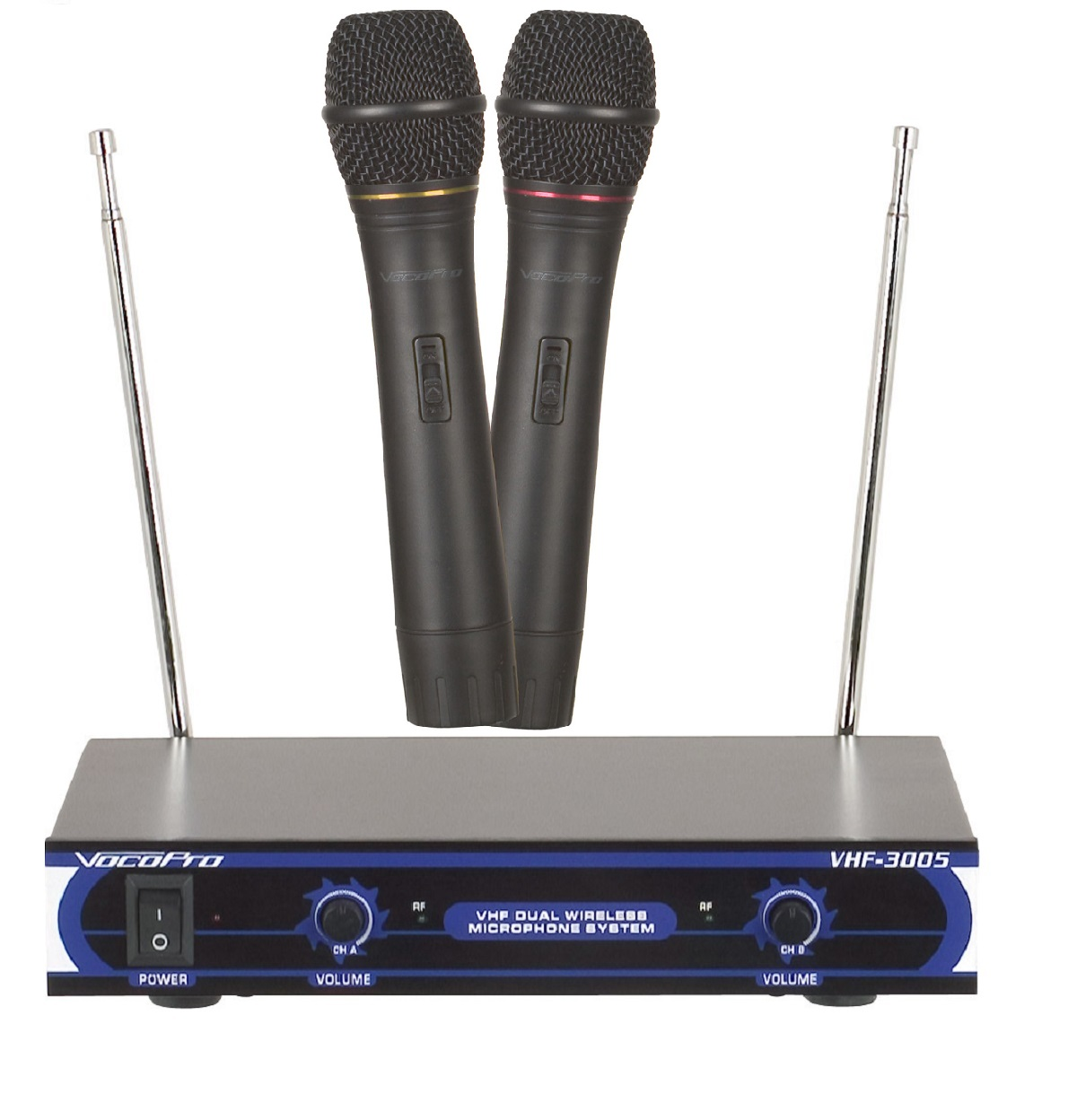 vocopro vhf 3005 dual channel vhf wireless microphone system. Black Bedroom Furniture Sets. Home Design Ideas