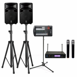 Yamaha STAGEPAS 400BT 400W PA System with Stands & ATNY AT-30 Dual Wireless Microphones (with Bluetooth Connectivity)