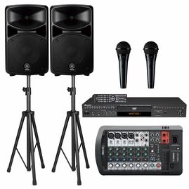 Yamaha Stagepas 400BT 400 watts PA System W/Bluetooth, Acesonic DGX-220 HDMI Karaoke Player, Shure PGA58 Vocal Mic and Speaker Stands