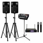 Yamaha STAGEPAS 400i 400W PA System with Stands & Dual Wireless Microphones