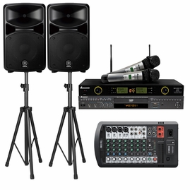 Yamaha Stagepas 600BT PA 680 watts System W/Bluetooth, Acesonic DGX-220 HDMI Karaoke Player, Acesonic UHF-5200 Pro Dual Mic System W/ Speaker Stand