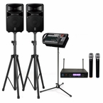 Yamaha STAGEPAS 600i 680W PA System with Stands & Dual Wireless Microphones