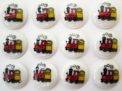 12 Vintage Children's Buttons w/Trains