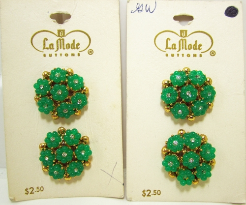4 Vintage Green Floral Buttons w/Rhinestones