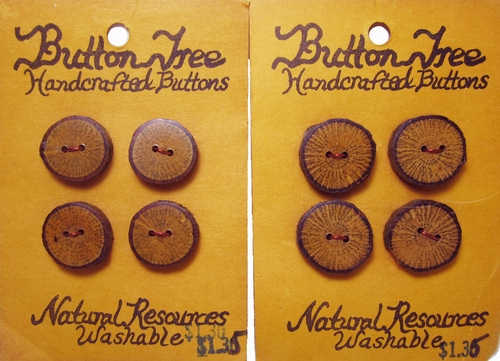 8 Vintage Wooden Buttons