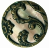 Antique Button w/Mother of Pearl & Brass Filigree