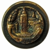 Antique Metal Picture Button w/Castle Motif
