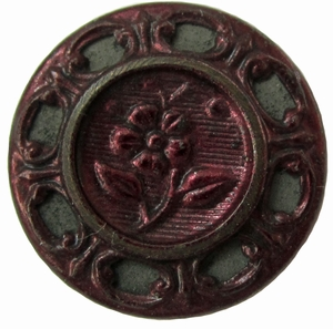 Antique Red Tinted Tin Button w/Flower Motif