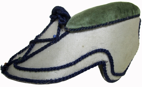 Antique Silk & Velvet Handmade Shoe Shaped Pincushion