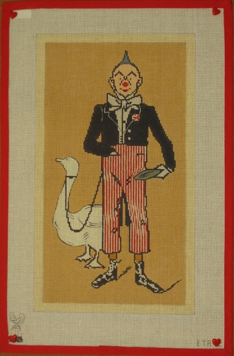 Clown & Goose Hand Painted Needlepoint Canvas By Isabel's