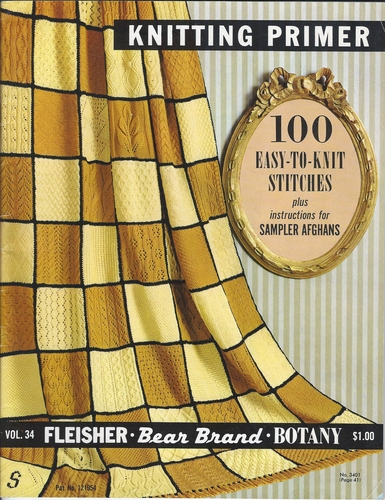Vintage Bear Brand #34 Knitting Primer 100 Easy-To-Knit Stitches