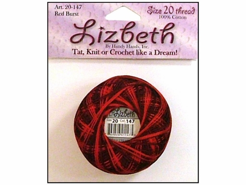 Happy Hands Lizbeth Tatting Thread - Red Burst