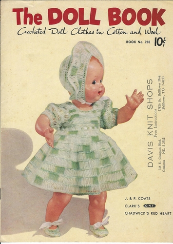Vintage J&P Coats & Clarks #280 The Doll Book, Crocheted Doll Clothes In Cotton & Wool