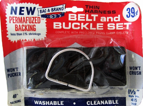 Vintage Black Bac-A-Brand Thin Harness Belt & Buckle Set