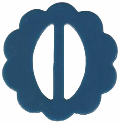 Vintage Blue Scalloped Plastic Belt Buckle