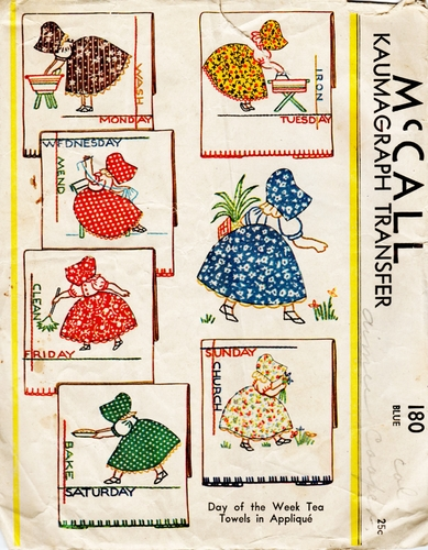 "Vintage McCall ""Days of the Week Tea Towels in Applque"" Transfer 180"