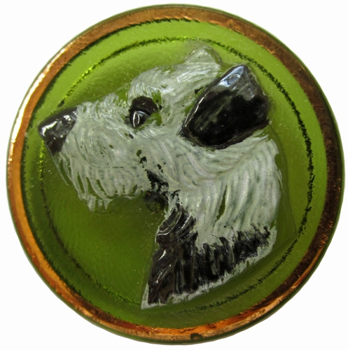 Vintage Glass Button w/Scottie Dog