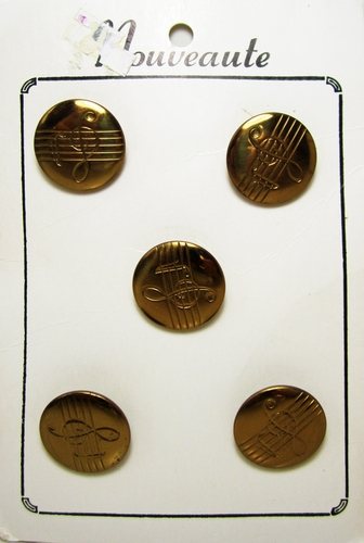 Vintage Gold Tone Buttons w/Musical Note Motif