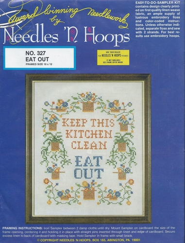 "Needles 'N  Hoops Vintage Hoops 'n Needles ""Eat Out"" Stamper Cross Stitch Sampler Kit"