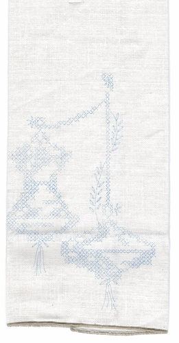 "Vintage ""Lanterns"" Stamped Cross Stitched Pattern on Linen Guest Towel"