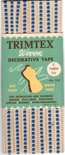 Vintage Trimex Woven Decorative Tape-Off White w/Blue Dots